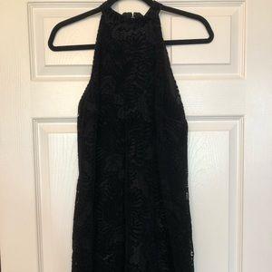 Loft Velvet Lace Halter Dress- Black